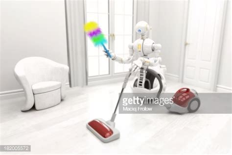 home cleaning robots robot cleaning a house with vacuum cleaner stock