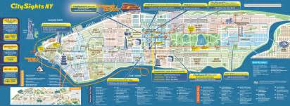 Map Of New York City Manhattan by Large Detailed City Sights Map Of Manhattan New York City