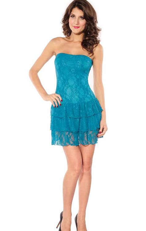 blue lace strapless ruffle tiered dress cheap