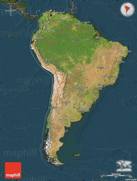 america map satellite satellite map of south america darken