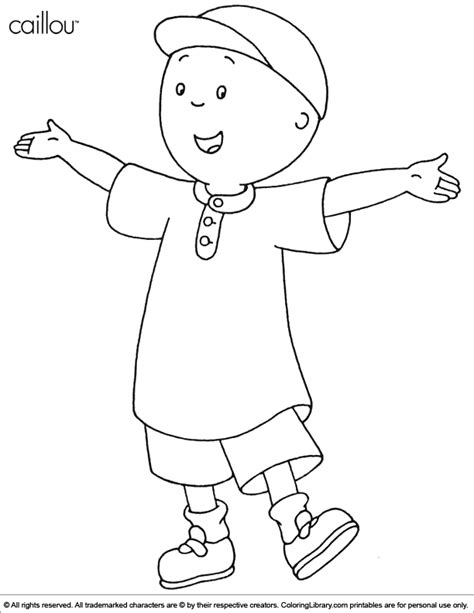picture to color caillou coloring picture
