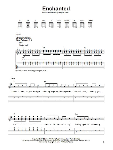 lyrics of enchanted by taylor swift with chords enchanted sheet music by taylor swift easy guitar tab