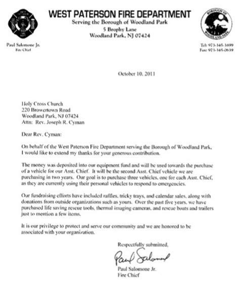 Thank You Letter For Donation To Department Holy Cross Makes Donation To The West Paterson Department Holy Cross Church
