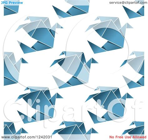 Origami Dove Pattern - clipart of a seamless blue origami dove background pattern