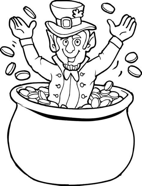 happy leprechaun cheering st patricks day  pot  gold