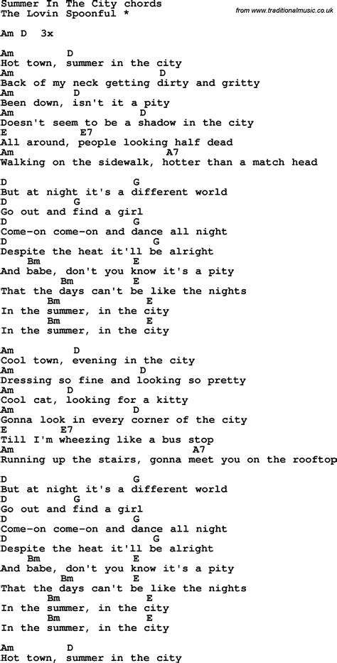 in lyrics song lyrics with guitar chords for summer in the city