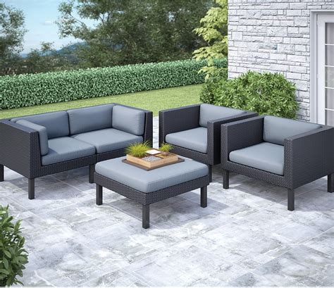 Oakland 5 Piece Patio Conversation Set Black The Brick Outdoor Patio Furniture Set
