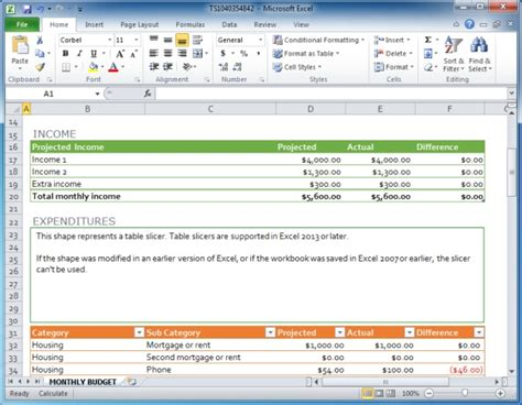 Family Monthly Budget Template For Excel Powerpoint Presentation Outline Exle