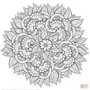 coloring page zentangle abstract flowers zentangle coloring page free printable