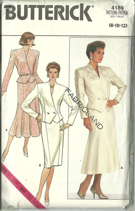pattern sewing butterick butterick sewing pattern 4189 misses womens skirt top suit
