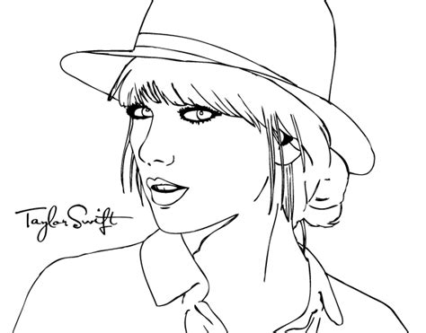 taylor swift coloring pages easy taylor swift with hat coloring page coloringcrew com