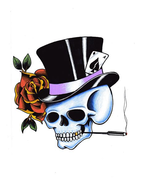 top hat tattoo skulls with hats wallpaper wallpapersafari