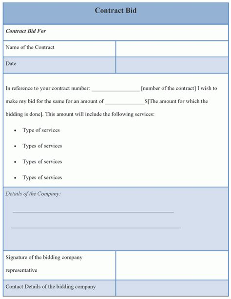 bid template contract template for bid exle of contract bid