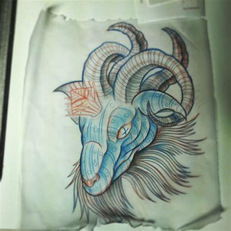 tattoo pen goats blue ink goat head tattoo design