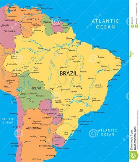 map of brasil brazil vector map stock photo image 8014870