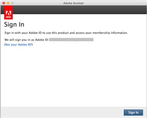 sign in purchase acrobat license or renew subscription