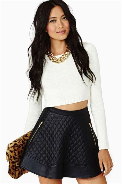 quilted leather skater skirt crop top fashion