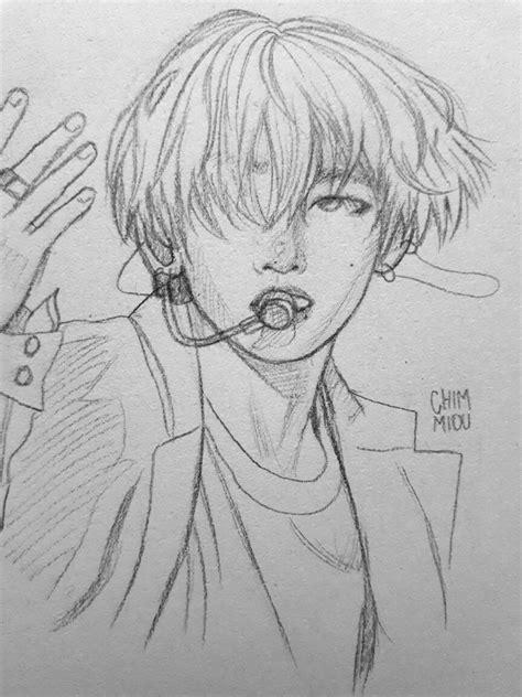 V Sketch Bts by Bts Kimtaehyung Btsfanart V Tae Drawing Sketch