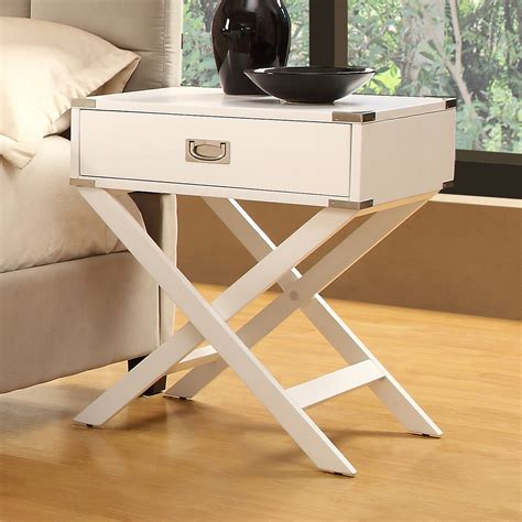 X Leg Side Table Oxford Creek White Accent Table With X Leg Nightstand Light Finish Home Furniture