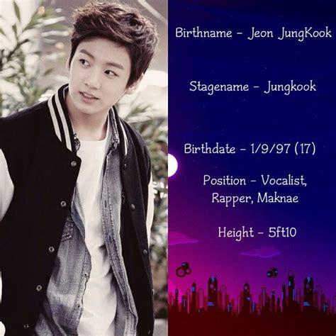 bts member profile jungkook profile kpop music
