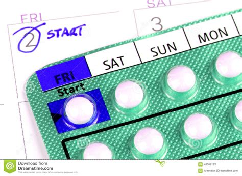 Contraception Calendrier Pilule Contraceptive Sur Le Calendrier Photo Stock Image