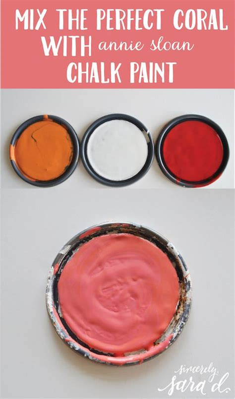 mixing the coral with chalk paint