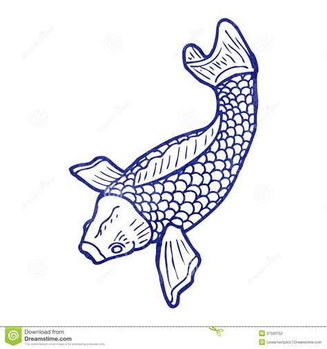 retro illustration japanese koi carp tattoo stock