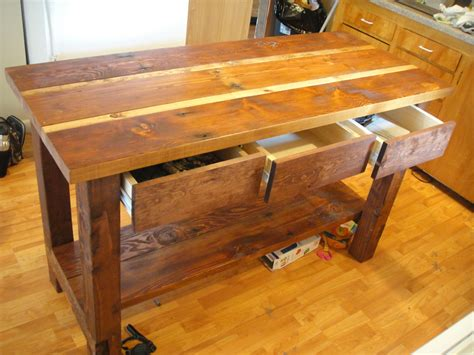 kitchen island wood ana white kitchen island from reclaimed wood diy projects