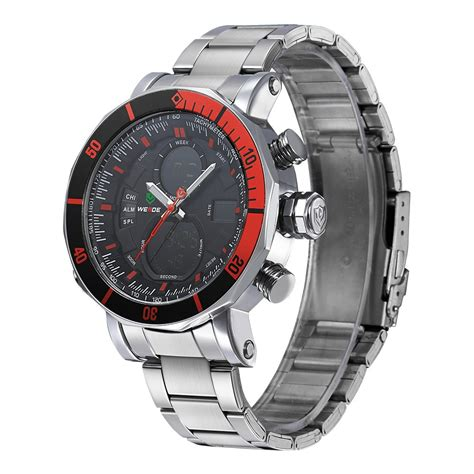 Weide Jam Tangan Sports 30m Water Resistance Wh5203 White weide dual time zone stainless quartz led sports 30m water resistance wh5203
