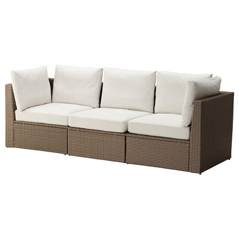 arholma 3 seat sofa outdoor brown beige 217x76x66 cm ikea