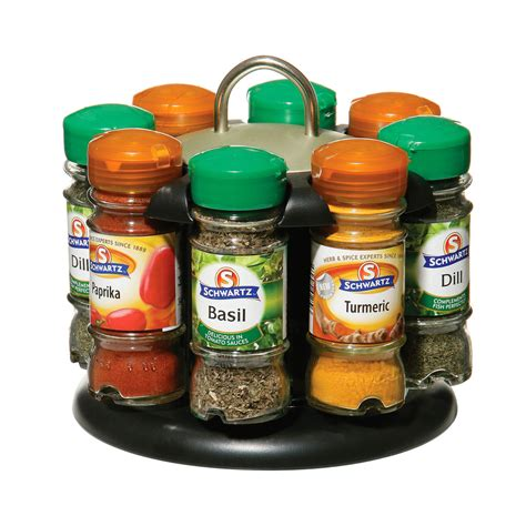 Spice Rack With Spices Included rotating spice rack 8 schwartz spice bottles included