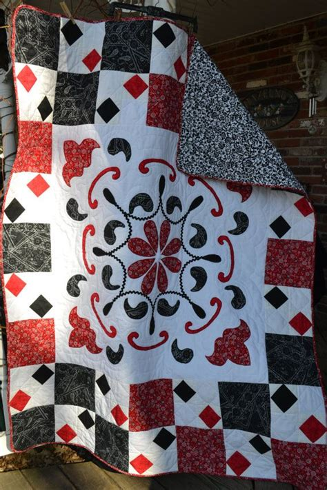 Black And White Paisley Quilt by Handmade Quilt Bandanna Print Black And White Paisley