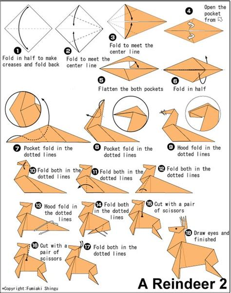 Origami Reindeer - origami deer craft ideas deer