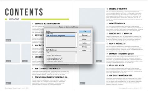 Table Of Contents Design Template generating an automatic table of contents from an indesign