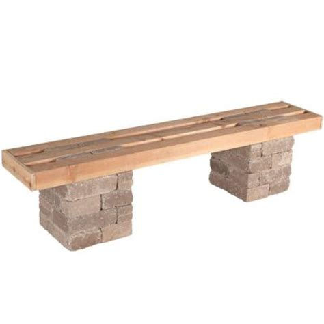 home depot outdoor bench pavestone rumblestone 72 in x 17 5 in rumblestone bench