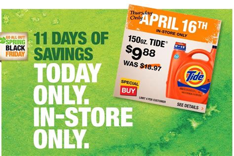 home depot 11 days of savings 150 oz tide laundry