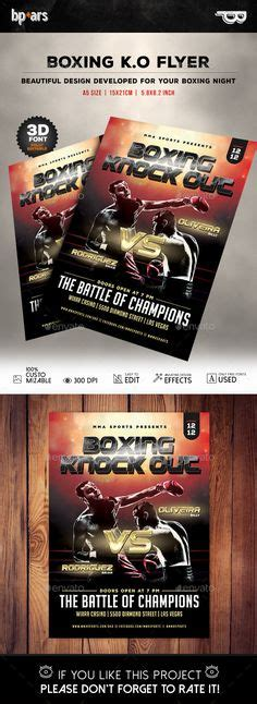 boxing fight card template fight flyer template and mma on