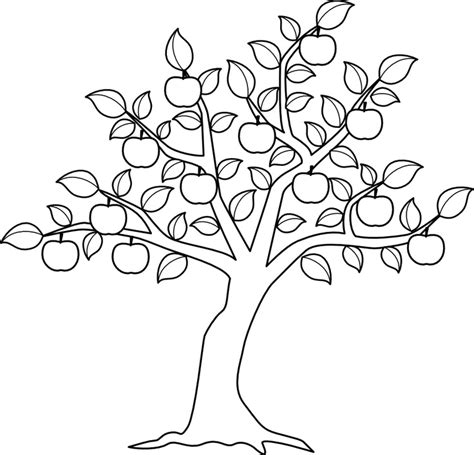 Apple Tree Pictures To Color Az Coloring Pages Apple Tree Coloring Page
