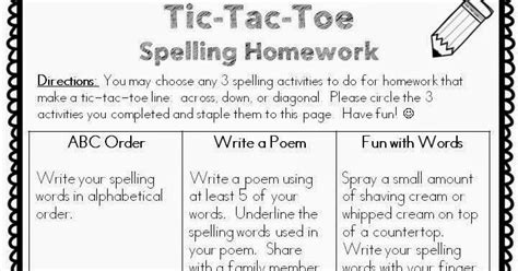 classroom freebies too spelling homework freebie
