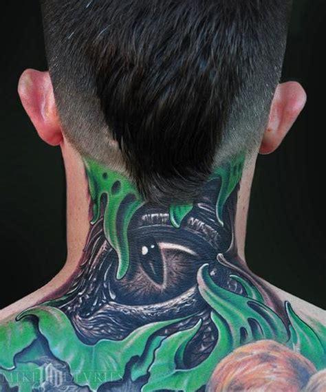 evil tattoo on neck mike devries eye tattoo neck tattoos pinterest
