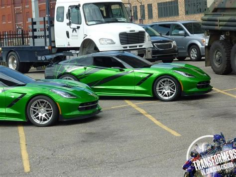 corvette stingray green pics transformers c7 corvette stingrays spotted on the