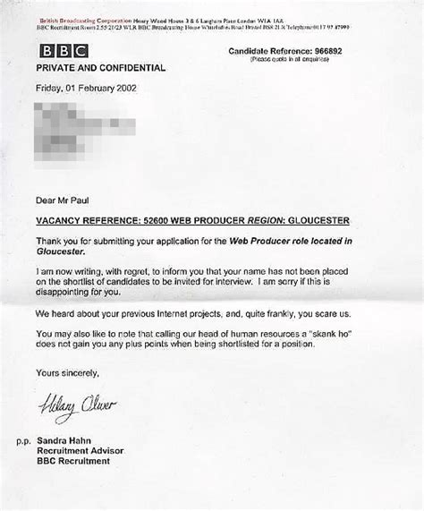 Rejection Letter Before Uk Classic Rejection Letter The Poke