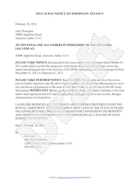 sle eviction notice free notice of eviction letter