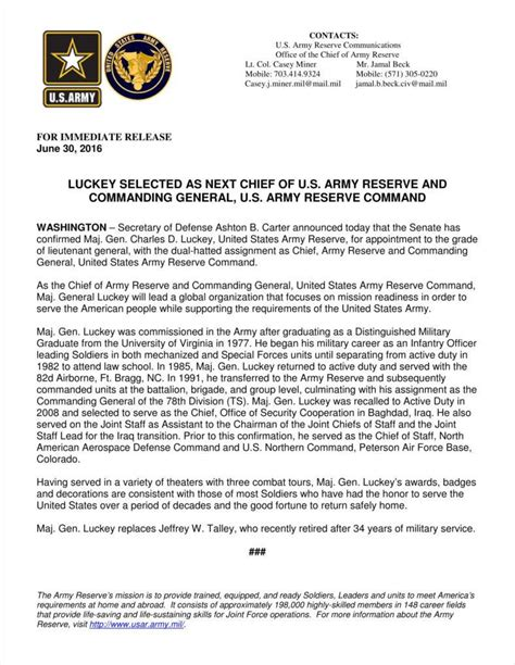 Press Release Letterhead 9 army letterhead templates free sles exles