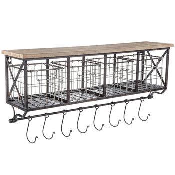 Black Metal Wood Shelf With Baskets 7 Hooks by Shelf With Metal Baskets Hooks Hobby Lobby