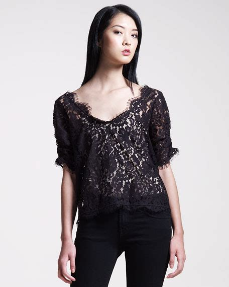 20238 Import Cotton Shirt Half Lace Sleeve Casual Top Whiteblack joie nevina lace sleeve top
