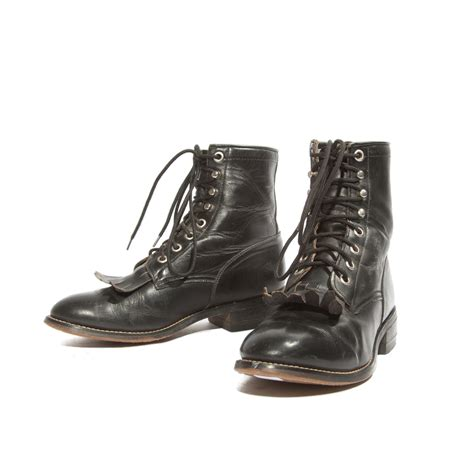 s shorty lace up justin roper boots black leather by