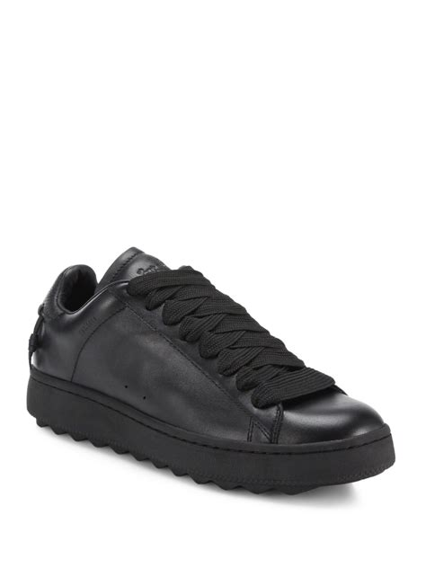 coach sneakers mens coach leather sneakers in black for lyst