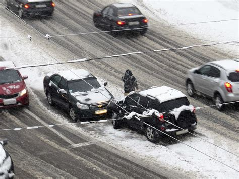 the accident road accident a car accident in the snow snow 18073