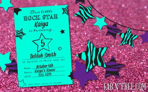 free printable rockstar birthday invitations free rock star party printables fab n free